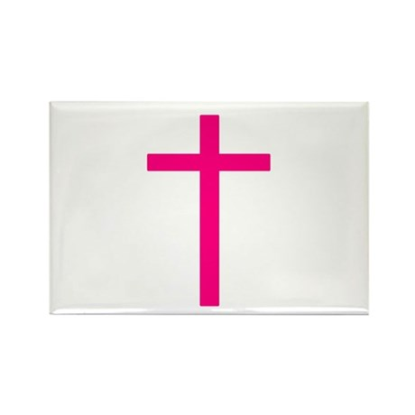 Pink Cross Rectangle Magnet