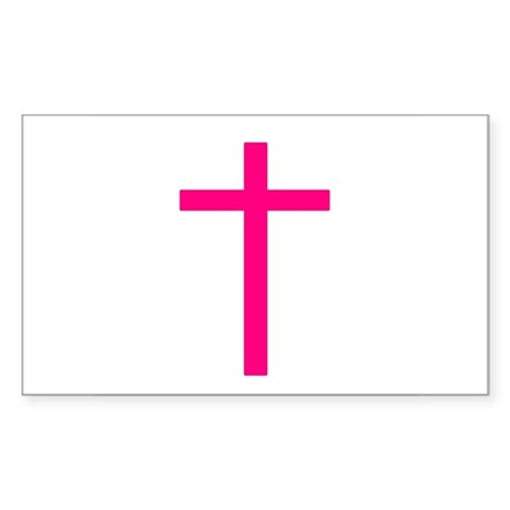 Pink Cross Rectangle Sticker