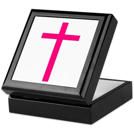 Pink Cross Keepsake Box