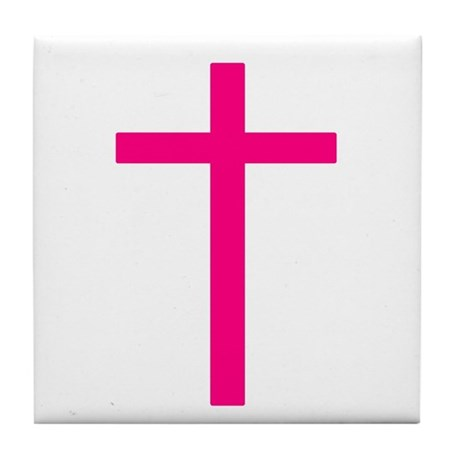 Pink Cross Tile Coaster