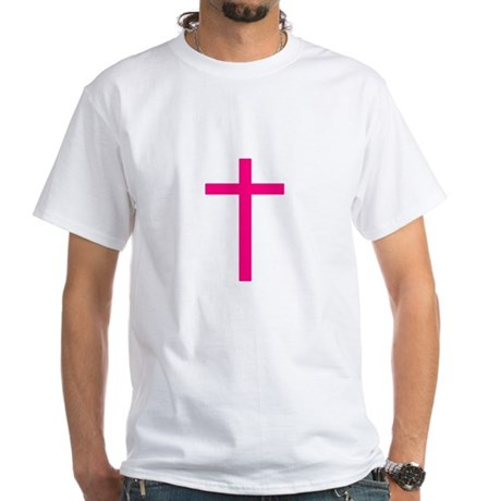 Pink Cross White T-Shirt