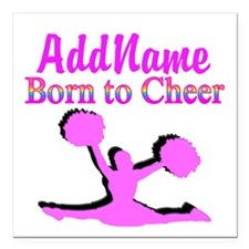 "TOP CHEERLEADER Square Car Magnet 3"" x 3"""