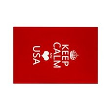 Keep Calm and Heart USA Rectangle Magnet