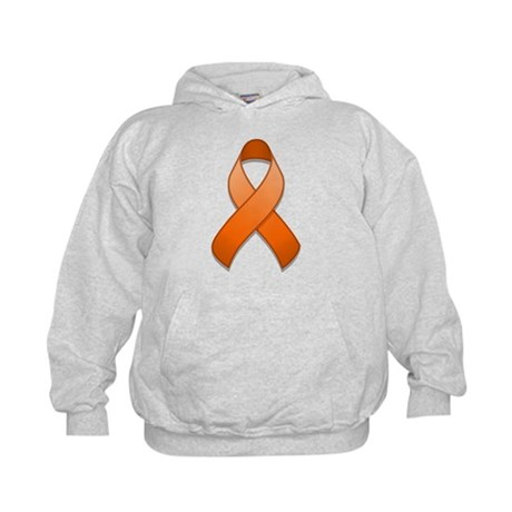 Orange Awareness Ribbon Kids Hoodie