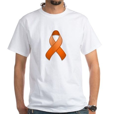 Orange Awareness Ribbon White T-Shirt