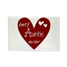 Red Heart Best Auntie Ever Rectangle Magnet