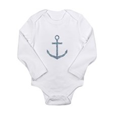 Nautical Faux Glitter Blue Chevron Anchor Body Sui
