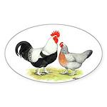 Dorking Chickens Oval Sticker