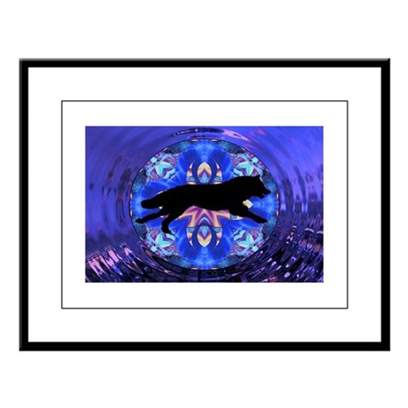 Running Wolf Large Framed Print