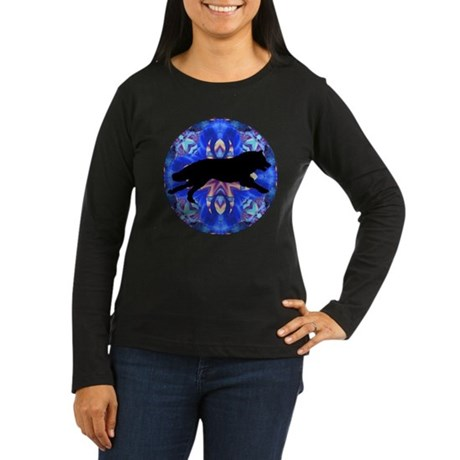 Running Wolf Women's Long Sleeve Dark T-Shirt