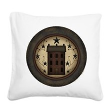 Primitive Saltbox and Stars Square Canvas Pillow