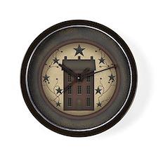 Primitive Saltbox and Stars Wall Clock