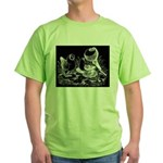 Etched Pigeon Trio Green T-Shirt