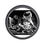 Etched Pigeon Trio Wall Clock