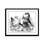 Pigeon Trio Framed Panel Print