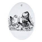 Pigeon Trio Oval Ornament