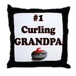 #1 Curling Grandpa Throw Pillow