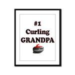 #1 Curling Grandpa Framed Panel Print