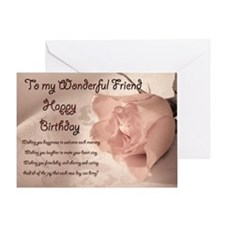 For friend, elegant rose birthday card. Greeting C