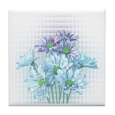 Turquoise & Purple Daisies Tile Coaster