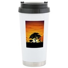 Wild Animals on African Savannah Sunset Travel Mug