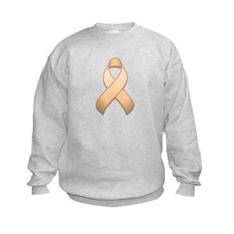 Peach Awareness Ribbon Kids Sweatshirt