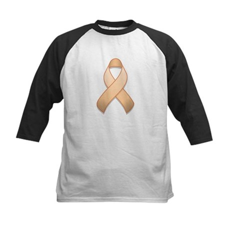 Peach Awareness Ribbon Kids Baseball Jersey