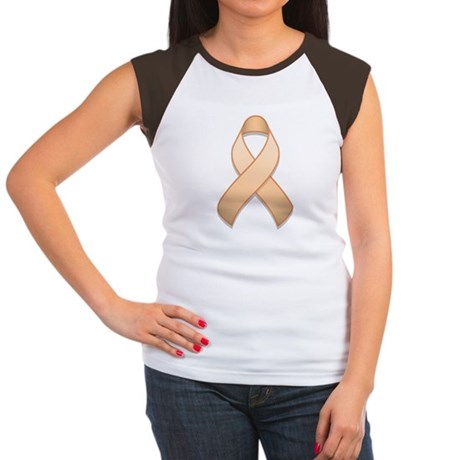 Peach Awareness Ribbon Women's Cap Sleeve T-Shirt