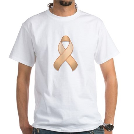Peach Awareness Ribbon White T-Shirt