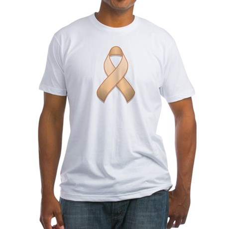 Peach Awareness Ribbon Fitted T-Shirt