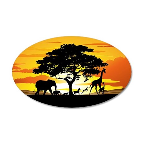 Wild Animals on African Savannah Sunset Wall Decal