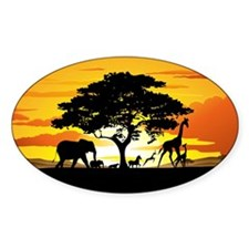 Wild Animals on African Savannah Sunset Decal