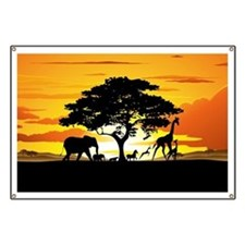 Wild Animals on African Savannah Sunset Banner