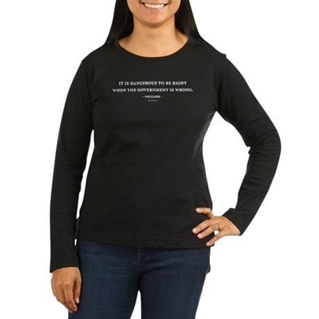 Voltaire Quote Womens Long Sleeve Brown T