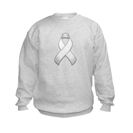 White Awareness Ribbon Kids Sweatshirt