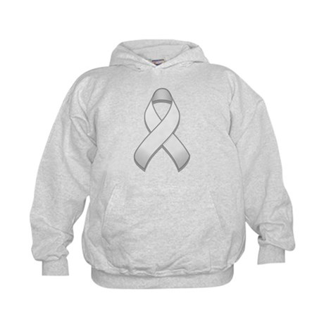 White Awareness Ribbon Kids Hoodie