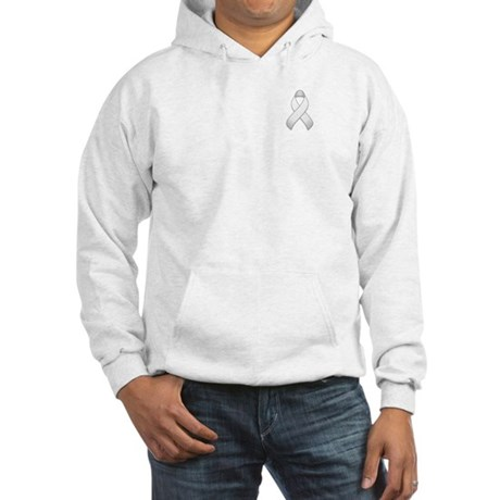 White Awareness Ribbon Hooded Sweatshirt