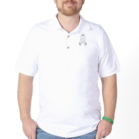 White Awareness Ribbon Golf Shirt