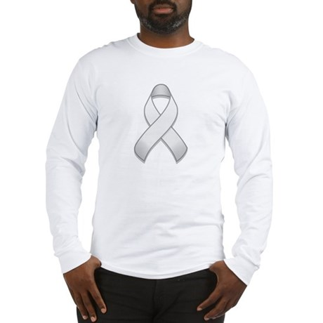 White Awareness Ribbon Long Sleeve T-Shirt