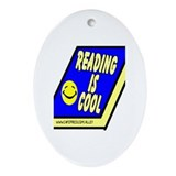 Reading is Cool Oval Ornament