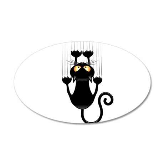 Black Cat Cartoon Scratching Wall Wall Decal