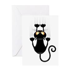 Black Cat Cartoon Scratching Wall Greeting Card