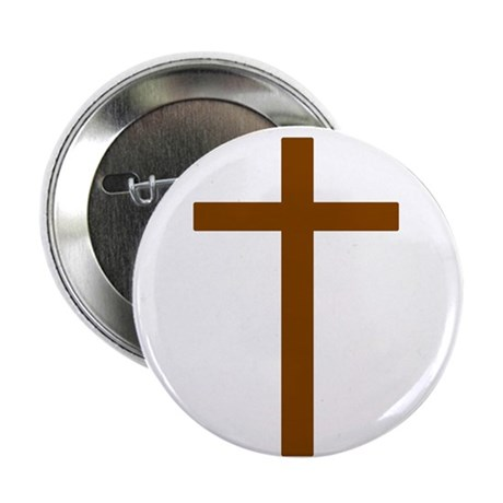 Brown Cross 2.25&quot; Button (100 pack)