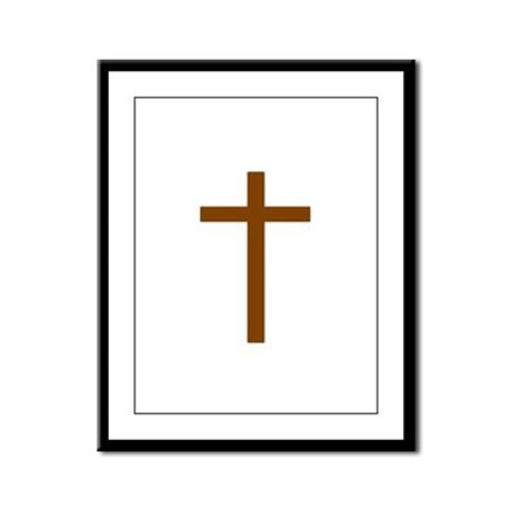 Brown Cross Framed Panel Print