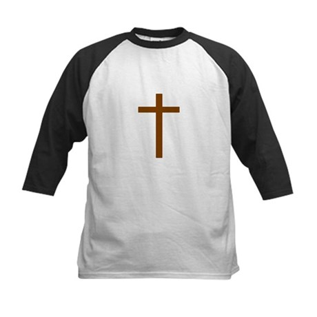 Brown Cross Kids Baseball Jersey