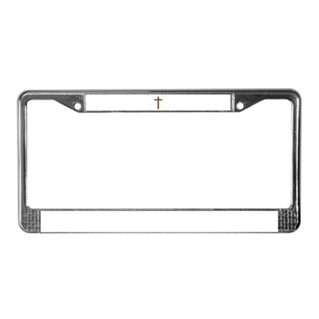 Brown Cross License Plate Frame