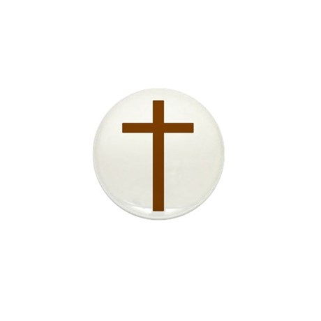 Brown Cross Mini Button