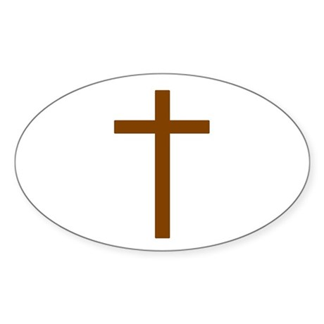 Brown Cross Oval Sticker
