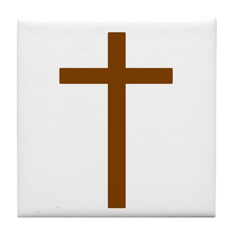 Brown Cross Tile Coaster