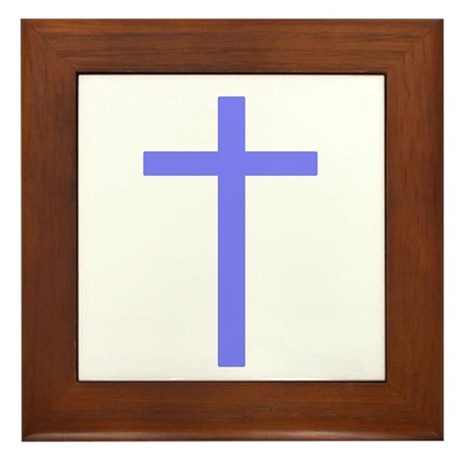 Purple Cross Framed Tile